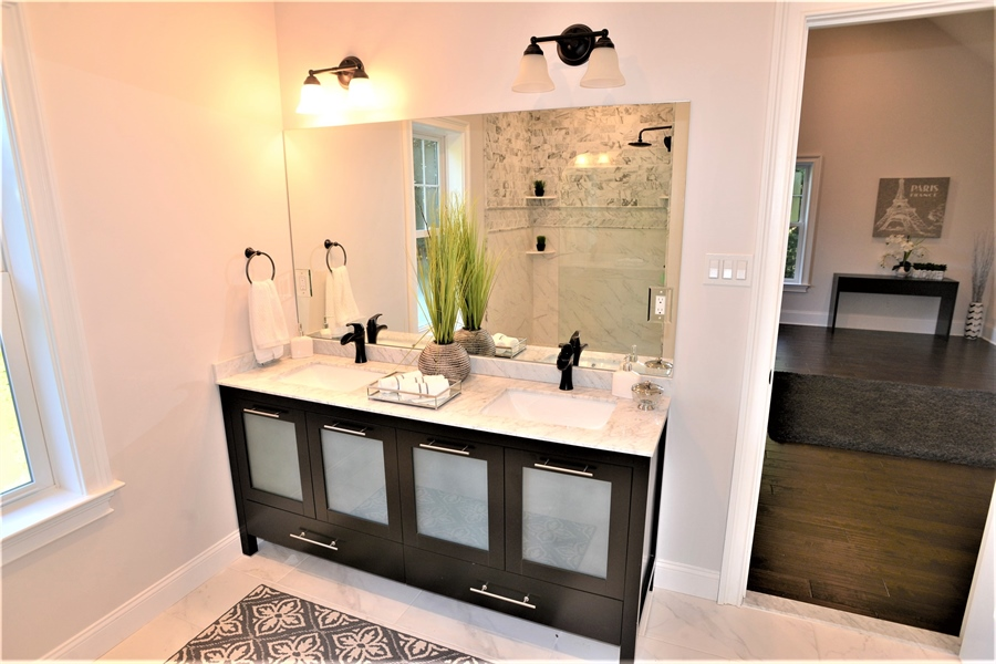 Real Estate Photography - 1426 E Strasburg Rd, West Chester, PA, 19380 - Large Master Bath w/Double Sinks & Quartz.