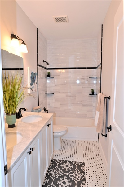 Real Estate Photography - 1426 E Strasburg Rd, West Chester, PA, 19380 - Full Bath w/Custom Tile Work & Double Sinks.