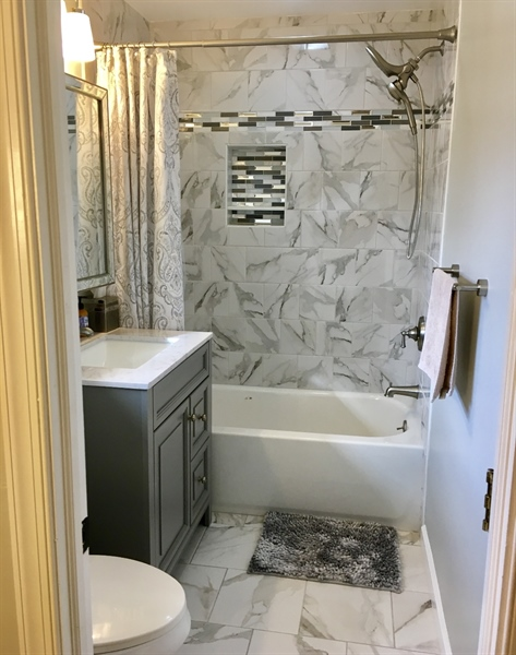 Real Estate Photography - 24 Marta Dr, Wilmington, DE, 19808 - Brand New Master Bath w/Custom Tile
