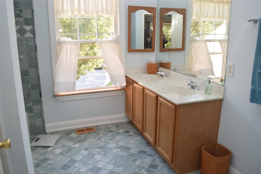 Real Estate Photography - 109 Nashua Ct, Bear, DE, 19701 - Master Bath Double Sink and Tile Flooring