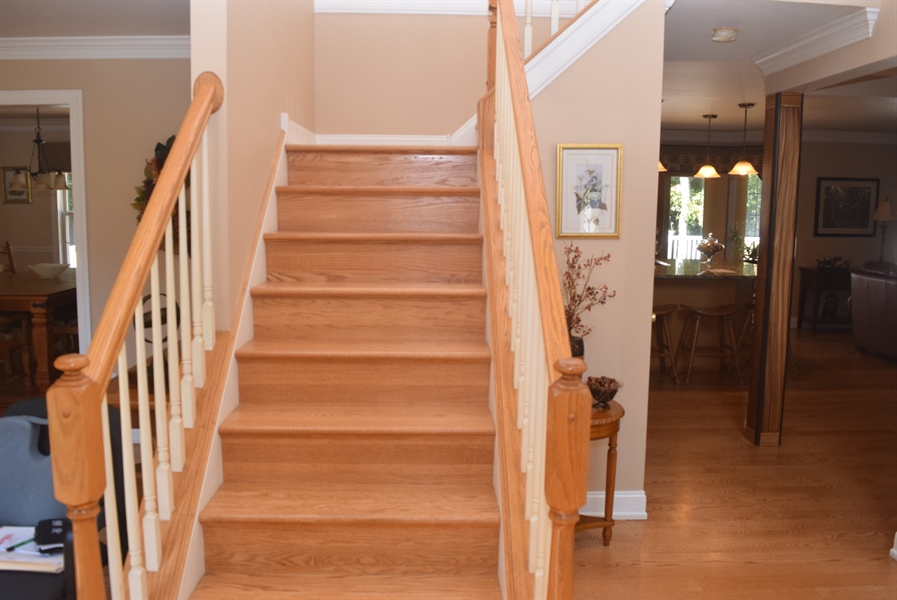 Real Estate Photography - 109 Nashua Ct, Bear, DE, 19701 - Oak Stairs