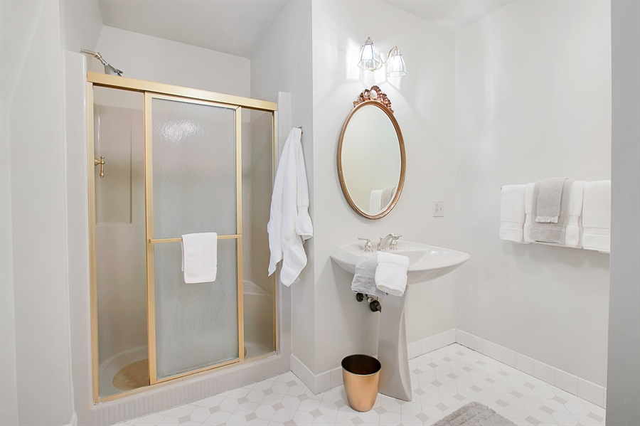 Real Estate Photography - 118 Chandler Ave, Wilmington, DE, 19807 - Master Bathroom with Glass Door Shower