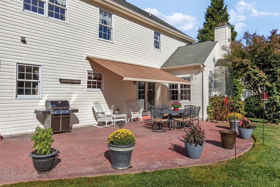 Real Estate Photography - 303 Wyndtree Ct N, Hockessin, DE, 19707 - Patio View With Awning Down