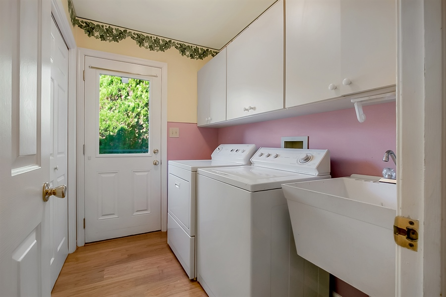 Real Estate Photography - 102 Beacon Ct, Wilmington, DE, 19808 - Convenient Laundry Room With Cabinetry, Sink, Door