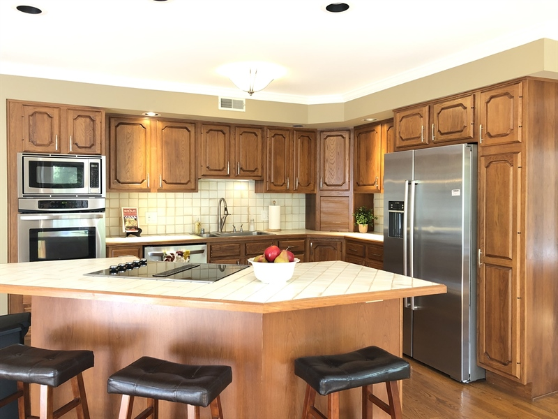 Real Estate Photography - 4919 Lancaster Pike, Wilmington, DE, 19807 - Beautiful Kitchen w/hickory cabinets, large island