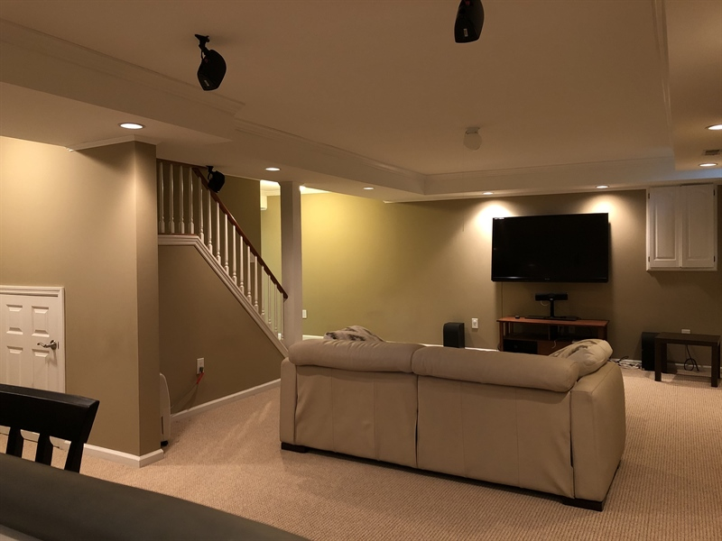 Real Estate Photography - 4919 Lancaster Pike, Wilmington, DE, 19807 - Home theatre with custom lighting & surround sound