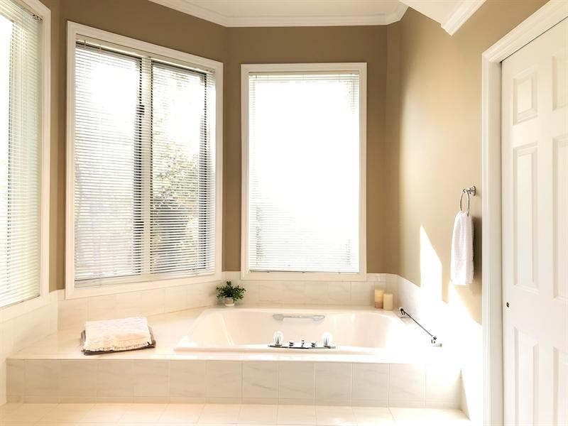 Real Estate Photography - 4919 Lancaster Pike, Wilmington, DE, 19807 - Spa-like master bath with Kohler whirlpool tub