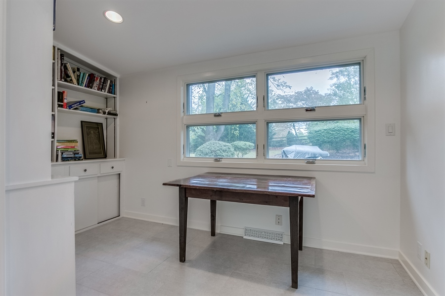 Real Estate Photography - 112 S Spring Valley Rd, Greenville, DE, 19807 - Den/ Office with Built-In Shelving
