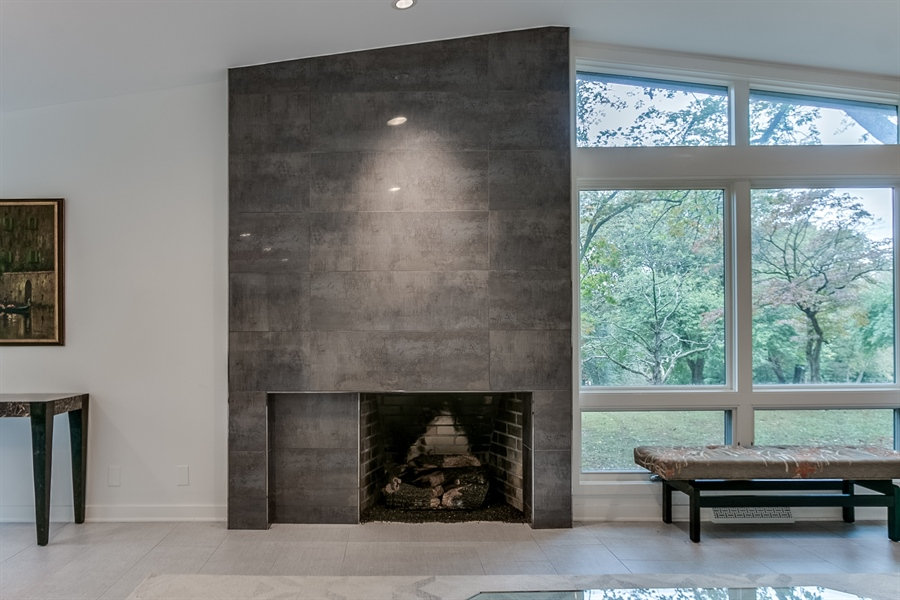 Real Estate Photography - 112 S Spring Valley Rd, Greenville, DE, 19807 - Custom Gas Fireplace in Living Room