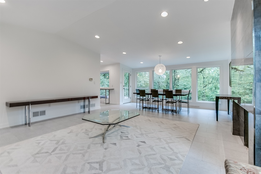 Real Estate Photography - 112 S Spring Valley Rd, Greenville, DE, 19807 - LR/DR Recessed Lights & Floor to Ceiling Windows