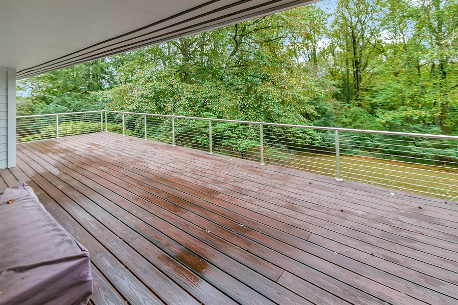 Real Estate Photography - 112 S Spring Valley Rd, Greenville, DE, 19807 - Large Trex Deck with Industrial Railing