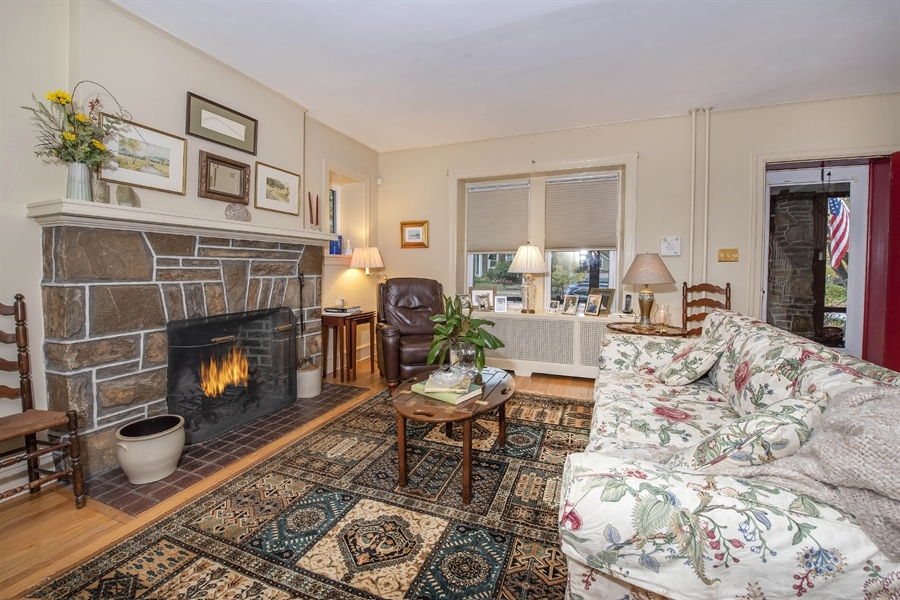 Real Estate Photography - 1316 Woodlawn Ave, Wilmington, DE, 19806 - Living Room with stone fireplace