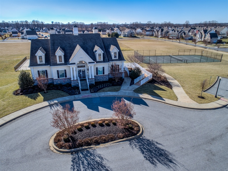Real Estate Photography - 747 Idlewyld Dr, Middletown, DE, 19709 - Clubhouse and tennis court