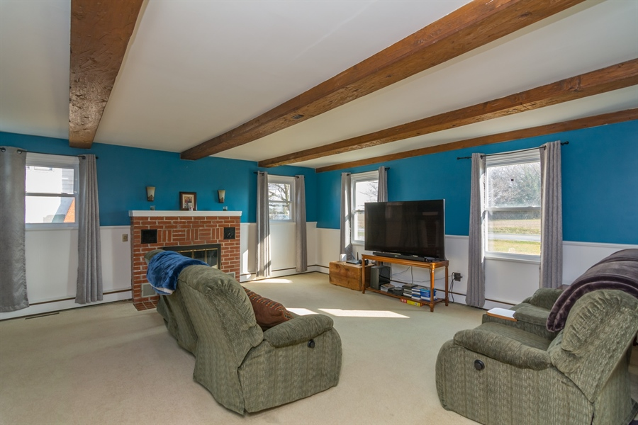 Real Estate Photography - 4535 Brenford Rd, Smyrna, DE, 19977 - Living Room with Exposed Beams
