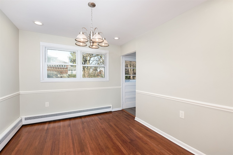 Real Estate Photography - 303 Valley Rd, Wilmington, DE, 19804 - Dining Room has Chair Rail, Recessed Lighting