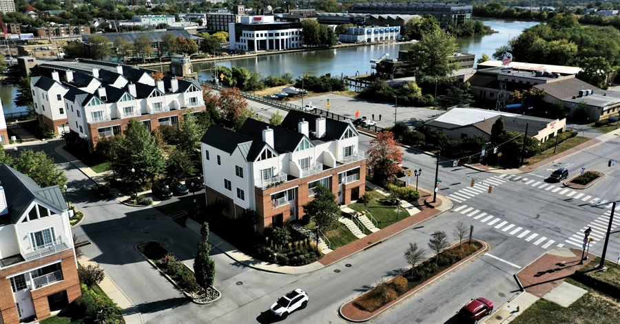 Real Estate Photography - 221 Christina Landing Dr, Wilmington, DE, 19801 - Ariel view showing Christina River