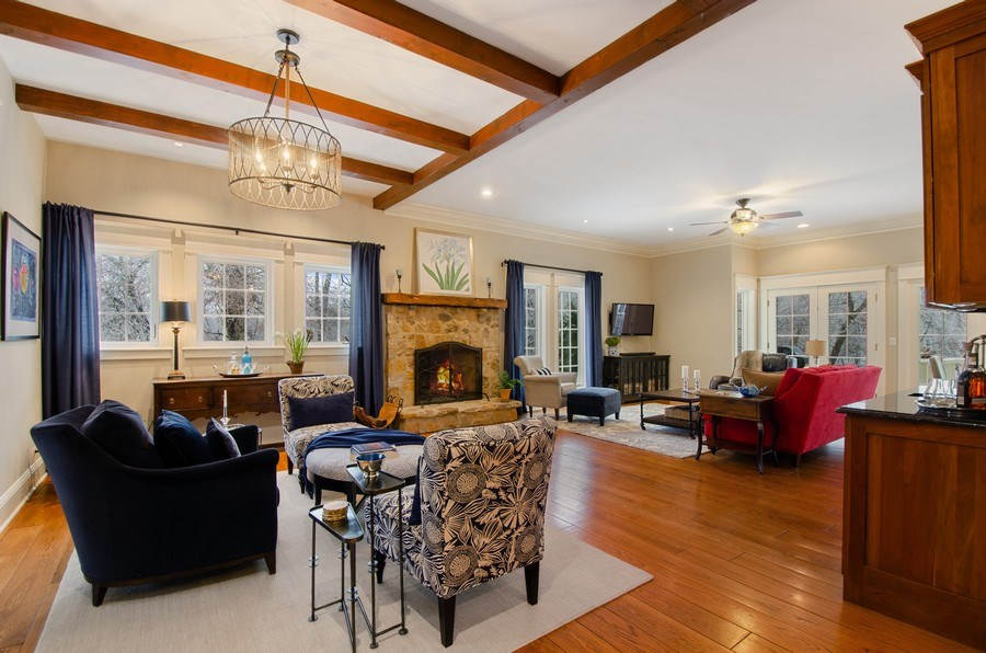Real Estate Photography - 1450 Aurora Way, Wheaton, IL, 60189 - FAMILY ROOM W/WARM BEAMS AND STONE FIREPLACE