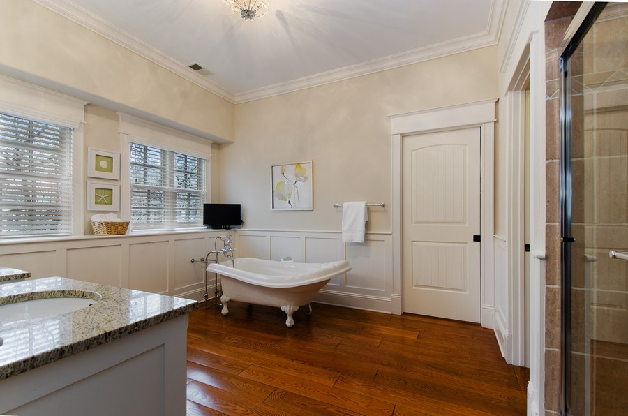 Real Estate Photography - 1450 Aurora Way, Wheaton, IL, 60189 - GLEAMING HARDWOODS & SLIPPER TUB COMPLETE THIS SPA