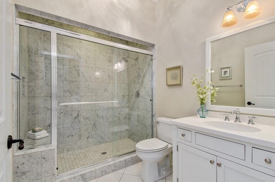 Real Estate Photography - 1450 Aurora Way, Wheaton, IL, 60189 - HALL BATH W/ CARERRA MARBLE FINISHES