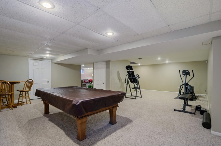 Real Estate Photography - 2S720 White Birch Lane, Wheaton, IL, 60189 - POOL TABLE AND EXERCISE SPACE