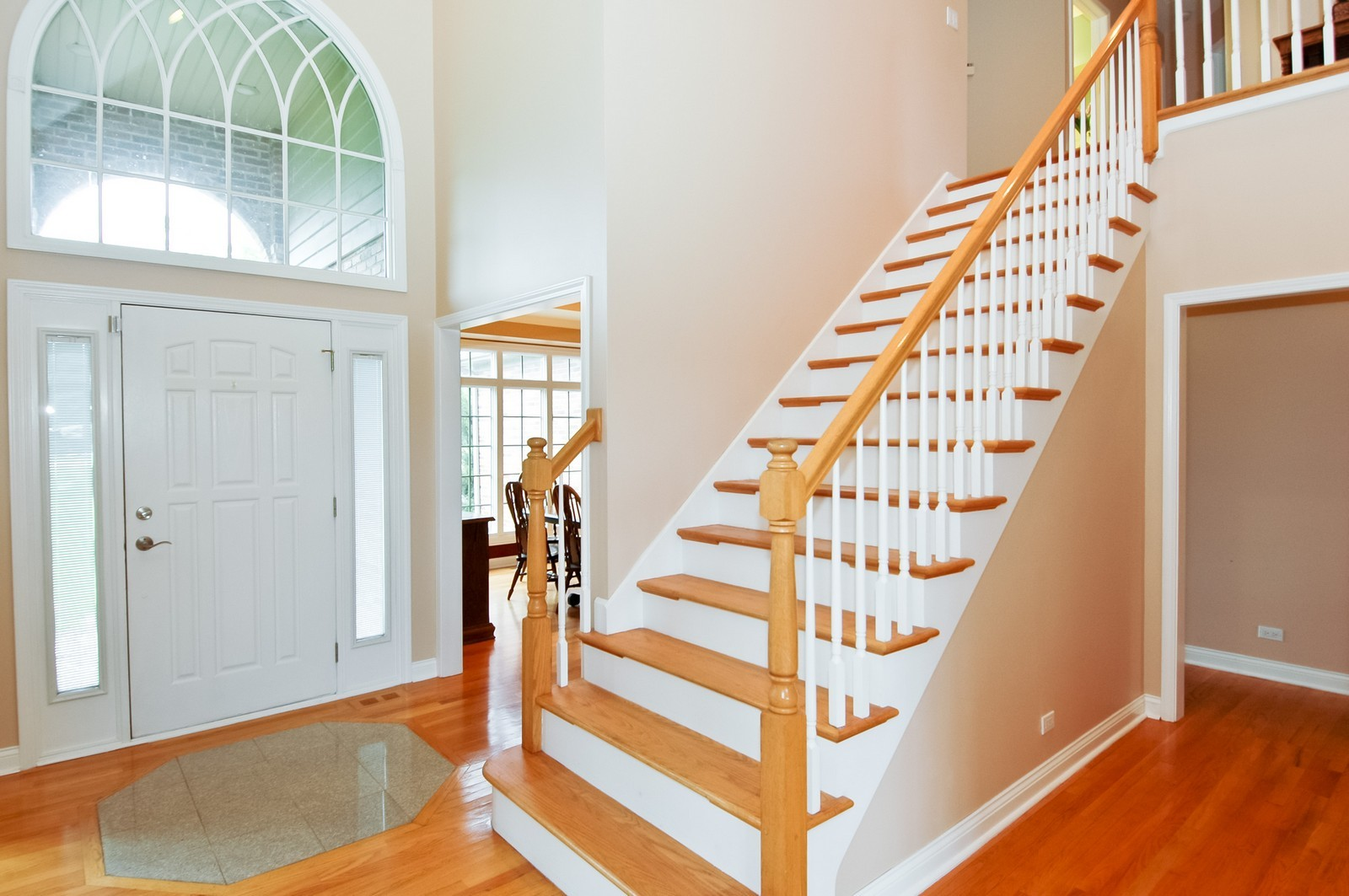 Real Estate Photography - 40W960 Chippewa Pass, Elgin, IL, 60124 - Foyer with Hardwood Staircase