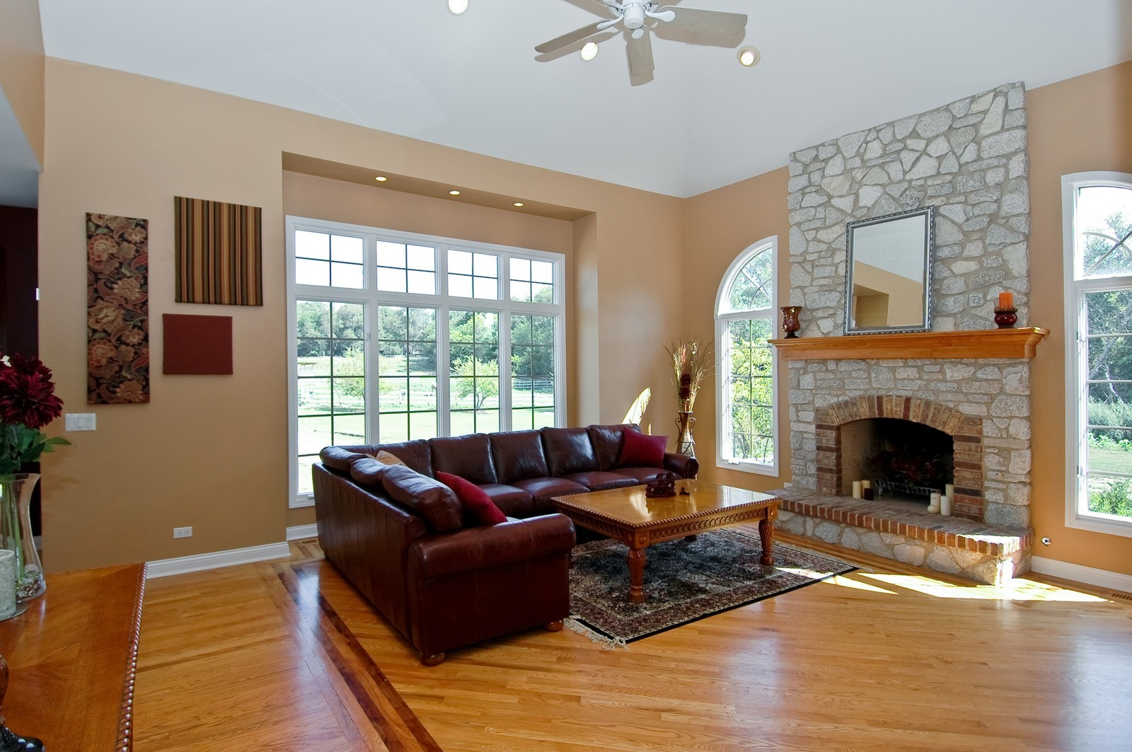 Real Estate Photography - 40W960 Chippewa Pass, Elgin, IL, 60124 - Family Rm w/Vaulted Tray Ceiling & Hardwd Inlay Fl