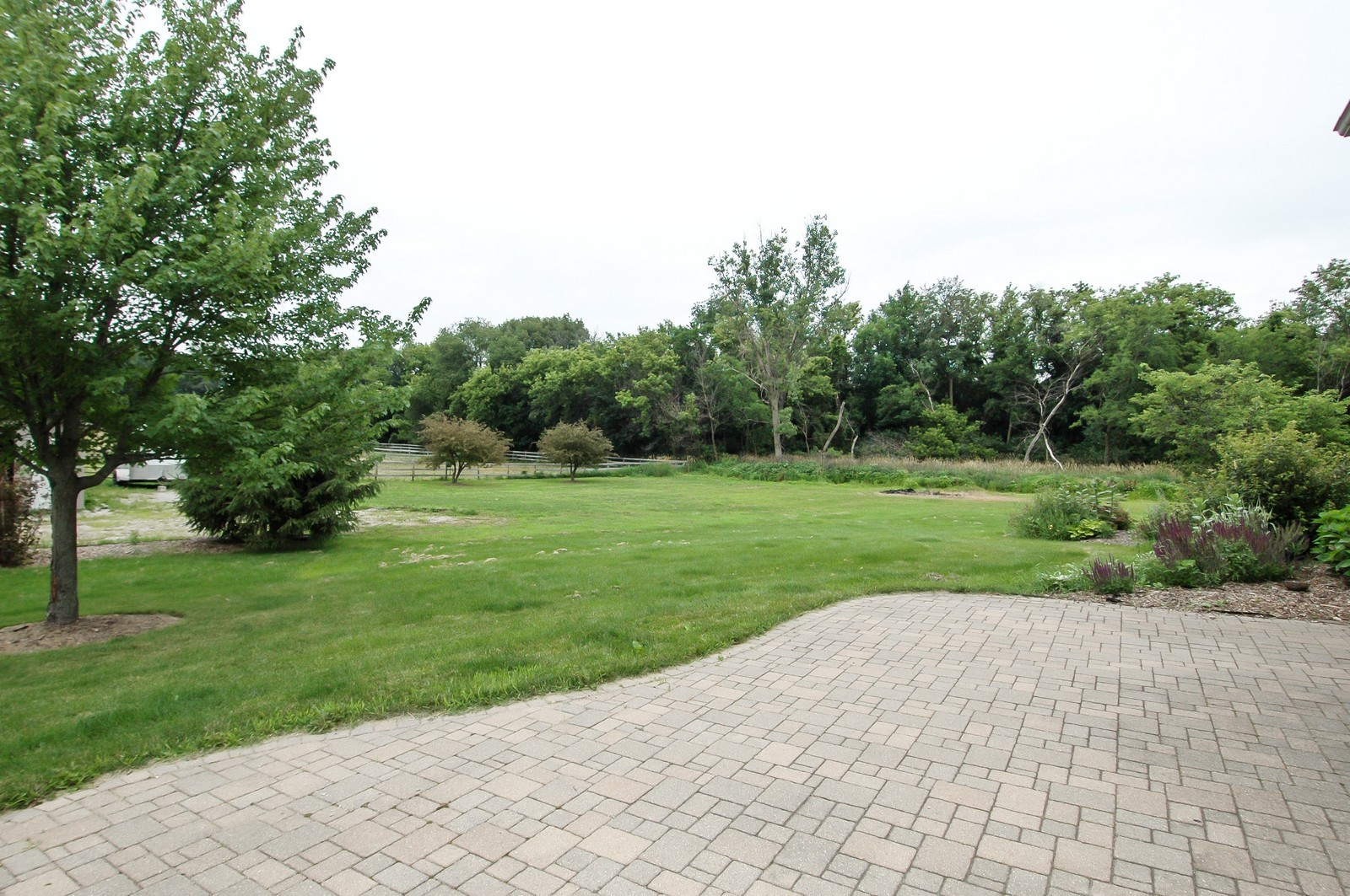 Real Estate Photography - 40W960 Chippewa Pass, Elgin, IL, 60124 - Paver Patio Overlooks Barn & Lawn
