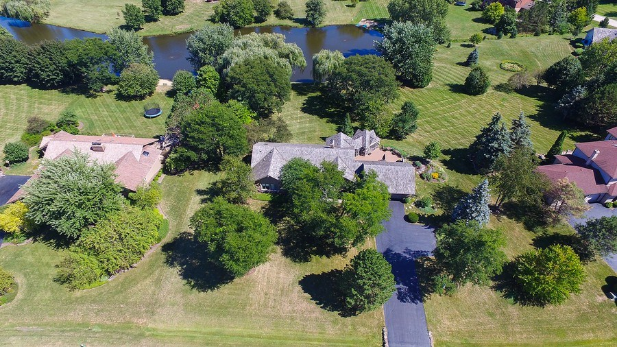 Real Estate Photography - 6 Harvard, Hawthorn Woods, IL, 60047 - Aerial Front View with Waterview