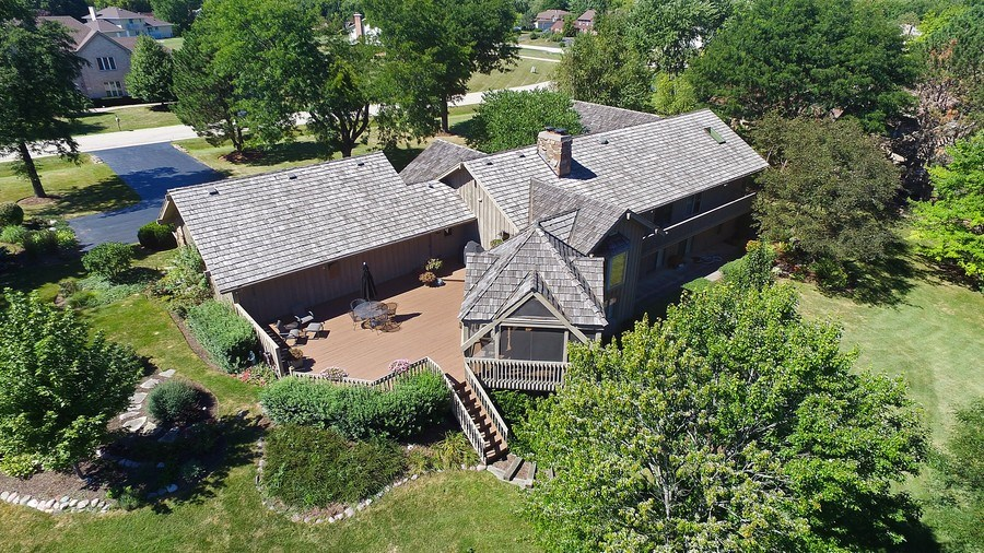 Real Estate Photography - 6 Harvard, Hawthorn Woods, IL, 60047 - Aerial of Deck and Screened Porch