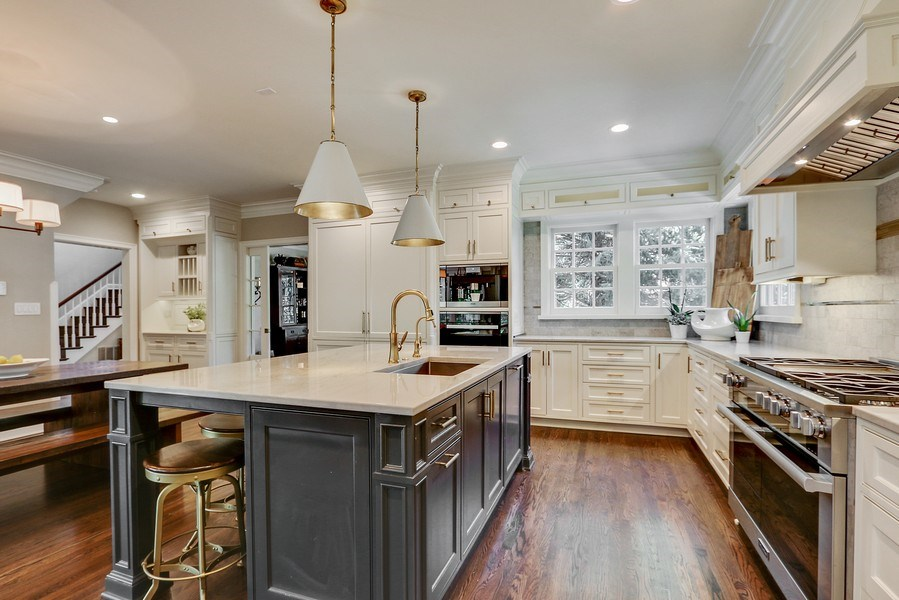 Real Estate Photography - 5651 High Dr, Mission Hills, KS, 66208 - Kitchen w/Beautiful White Pearl Quartzite Countert