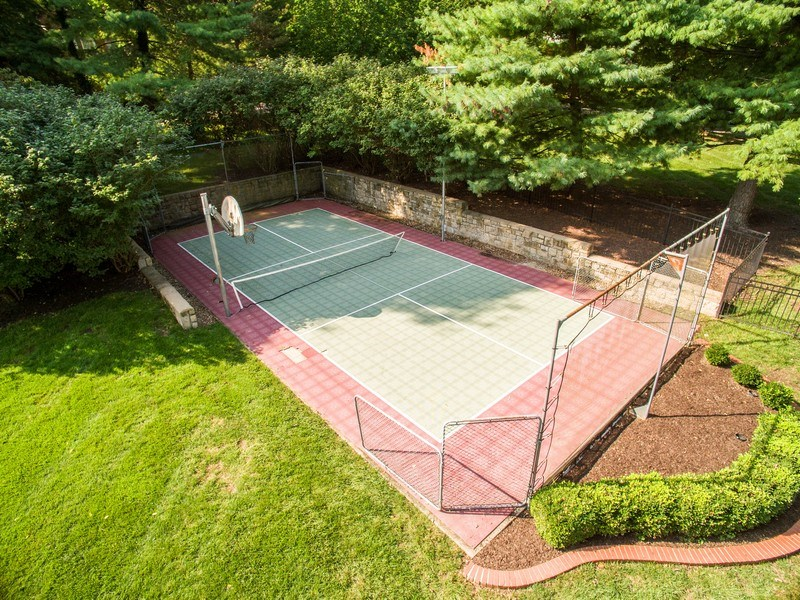 Real Estate Photography - 5651 High Dr, Mission Hills, KS, 66208 - Aerial View of Sport Court