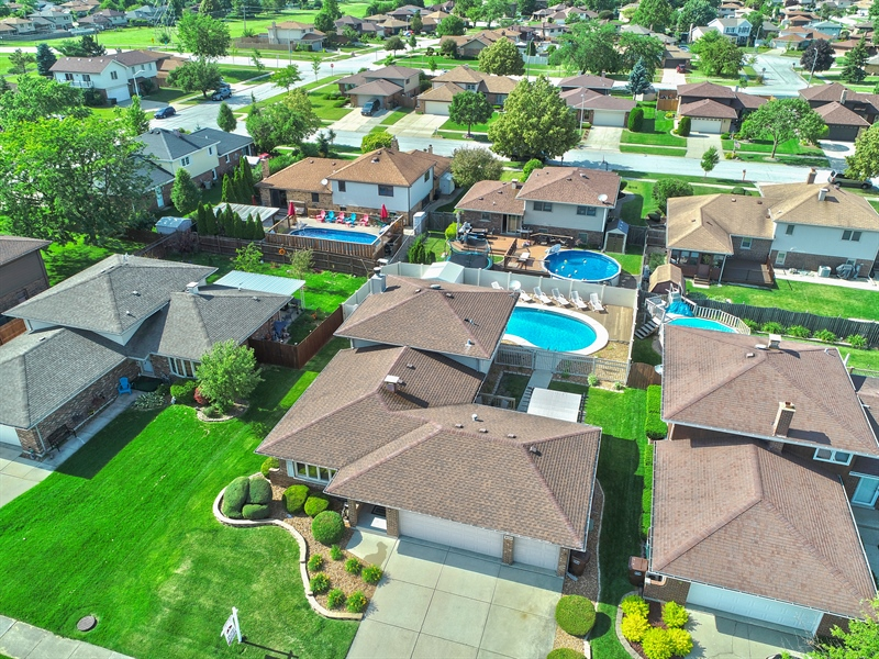 Real Estate Photography - 8124 Tudor Lane, Tinley Park, IL, 60477 - Aerial View