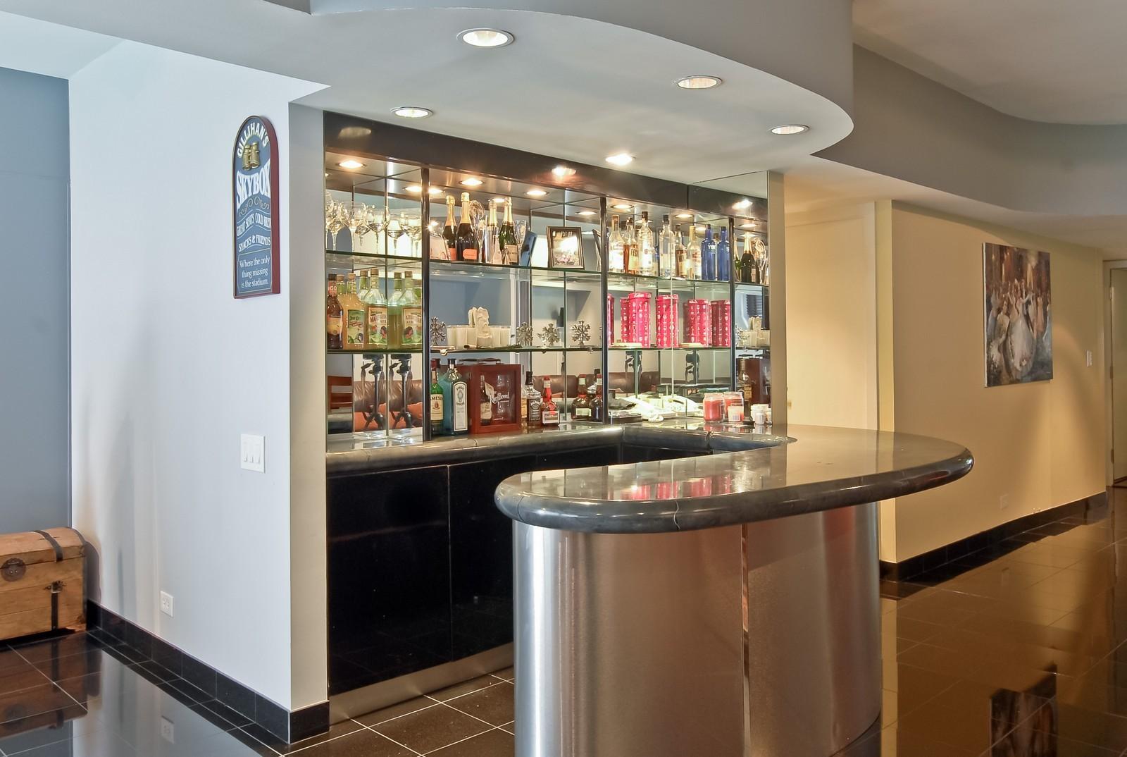 Real Estate Photography - 175 E Delaware, Unit 6507, Chicago, IL, 60611 - Bar