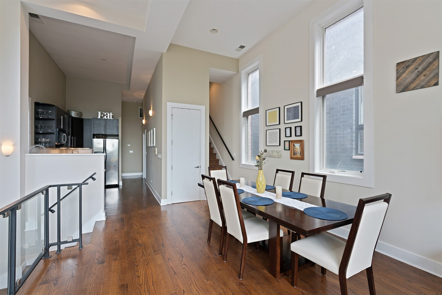Real Estate Photography - 1543 N Bosworth, Unit #3, Chicago, IL, 60642 - Dining Room
