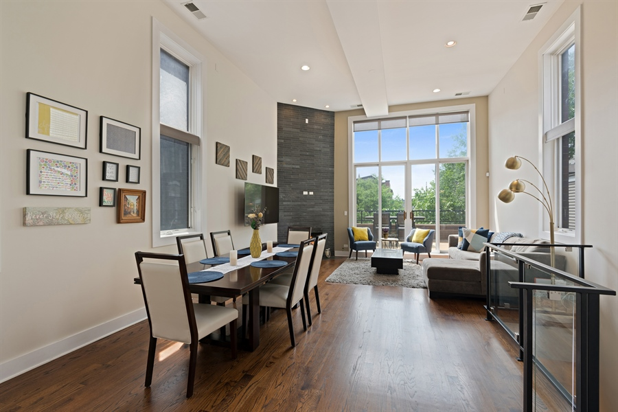 Real Estate Photography - 1543 N Bosworth, Unit #3, Chicago, IL, 60642 - Living Room / Dining Room