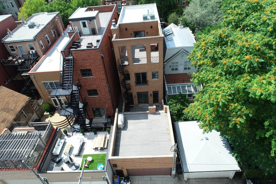Real Estate Photography - 2335 N. Southport, Chicago, IL, 60614 - Aerial View Rear