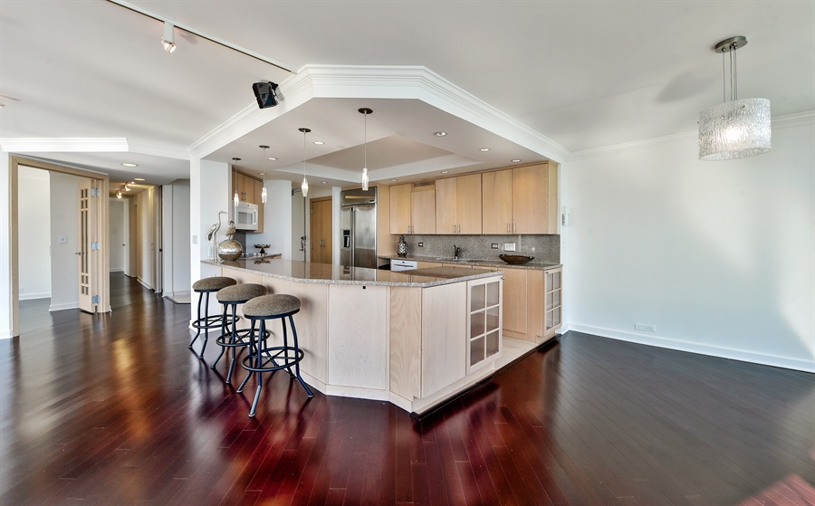 Real Estate Photography - 505 N Lake Shore Dr, Unit 5607, Chicago, IL, 60611 - Kitchen / Dining Room