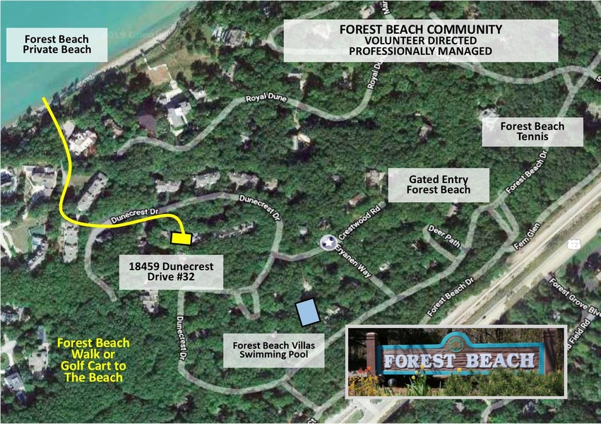 Real Estate Photography - 18459 Dunecrest Drive, 32, New Buffalo, MI, 49117 - Forest Beach Beach Map- 18459 Dunecrest Drive #32