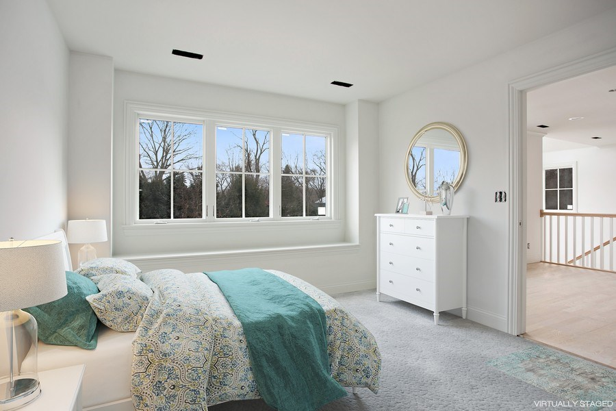 Real Estate Photography - 45328 Fairway Dr, Perkins, Grand Beach, MI, 49117 - Virtually staged Guest Bedroom