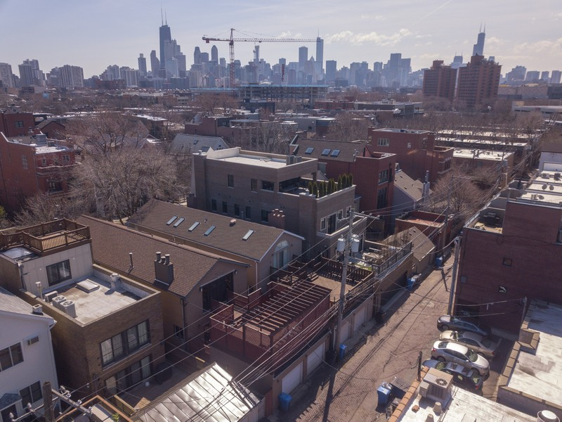 Real Estate Photography - 1710 N. Burling, Chicago, IL, 60614 - Aerial Rear View
