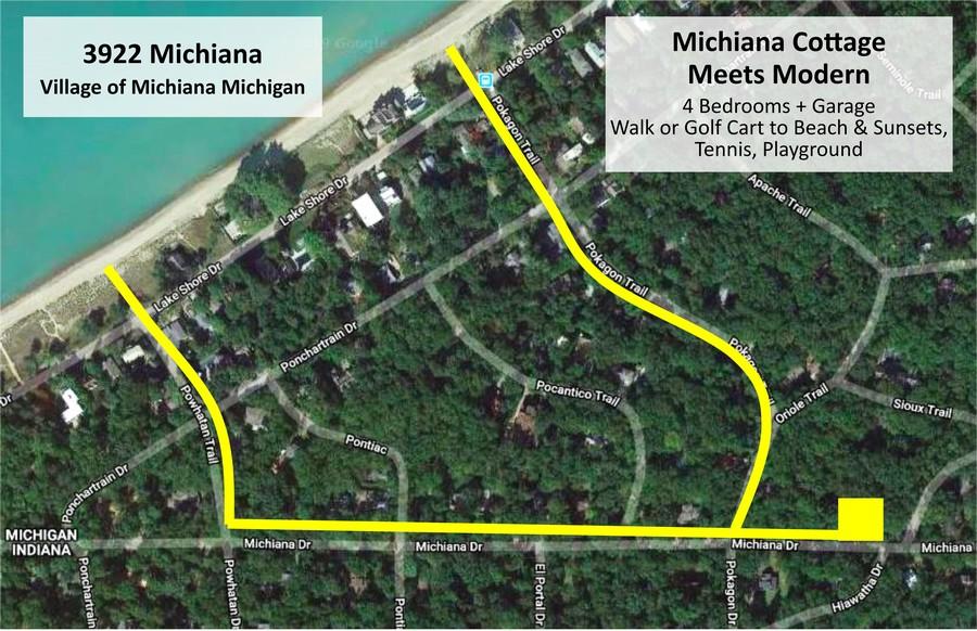 Real Estate Photography - 3922 Michiana Drive, New Buffalo, MI, 49117 - Map to Beach