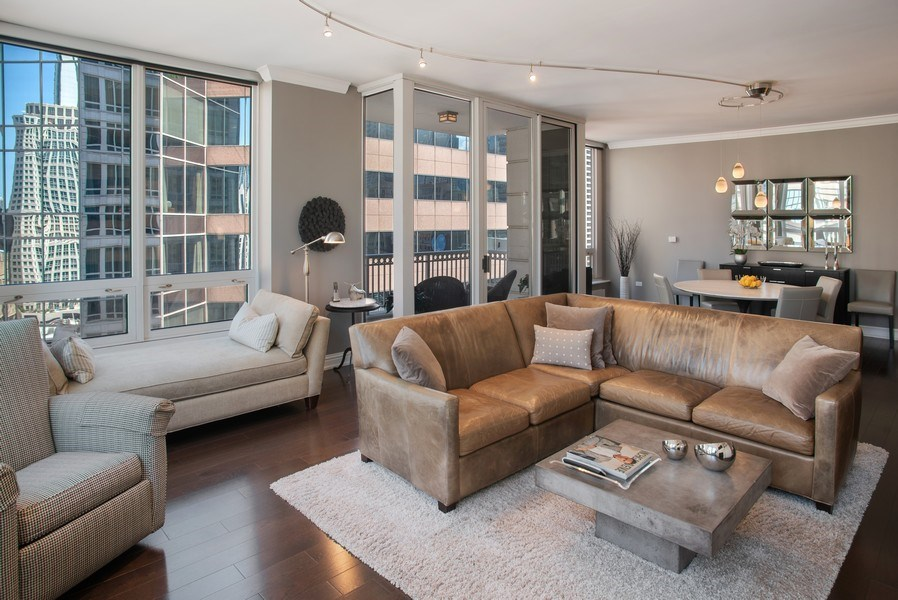 Real Estate Photography - 55 E Erie #1803, Chicago, IL, 60611 - Living Room/Dining Room