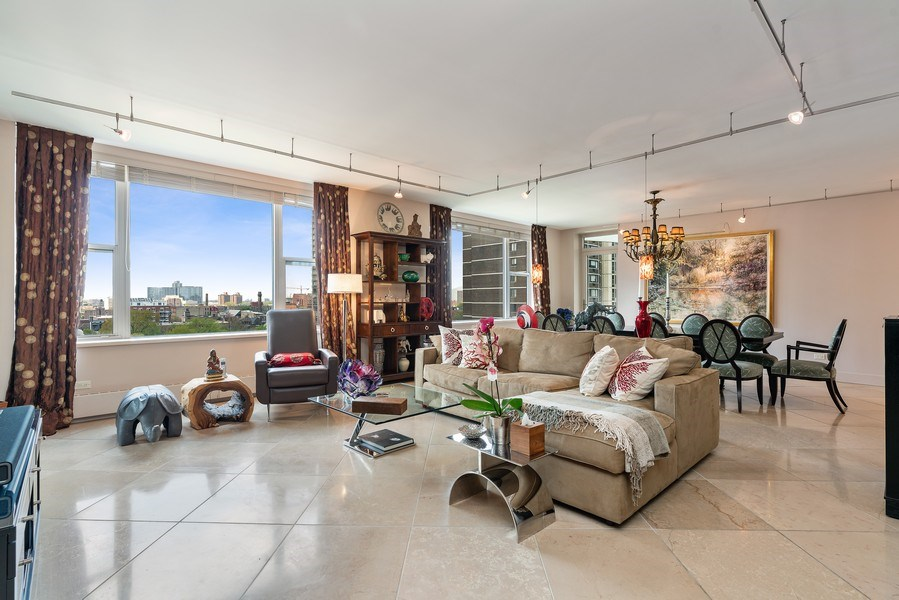Real Estate Photography - 1301 N. Dearborn, #903-4, Chicago, IL, 60610 - Living Room