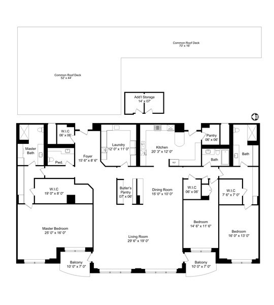 Real Estate Photography - 1301 N. Dearborn, #903-4, Chicago, IL, 60610 - Floor Plan