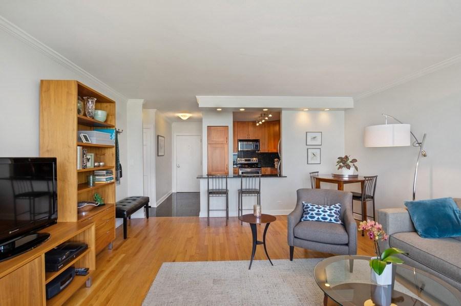 Real Estate Photography - 1550 N Lake Shore, Unit 28E, Chicago, IL, 60610 - Kitchen / Living Room