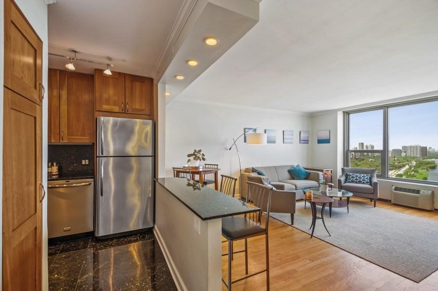 Real Estate Photography - 1550 N Lake Shore, Unit 28E, Chicago, IL, 60610 - Kitchen/Living