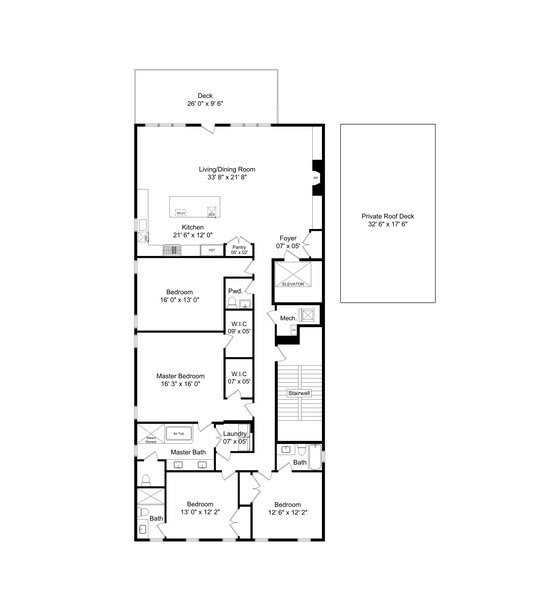 Real Estate Photography - 731 W. Melrose, #2, Chicago, IL, 60657 - Floor Plan