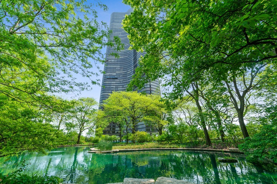 Real Estate Photography - 505 N Lake Shore Dr, Unit 5502, Chicago, IL, 60611 - Pond
