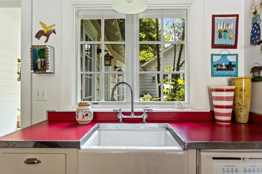 Real Estate Photography - 15120 Lakeshore Road, Lakeside, MI, 49116 - Kitchen Sink Garden View