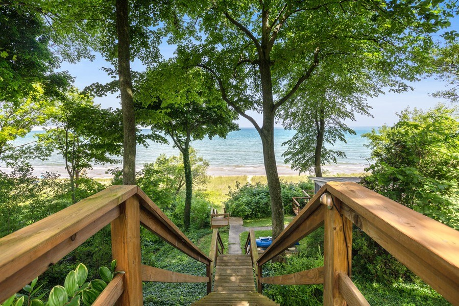 Real Estate Photography - 15120 Lakeshore Road, Lakeside, MI, 49116 - Stairs to Beach House